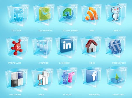 social networking icons in the snow