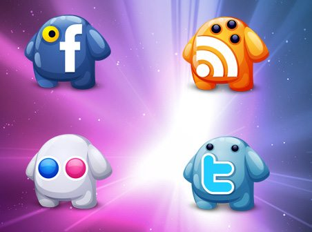 social networking icons creatures