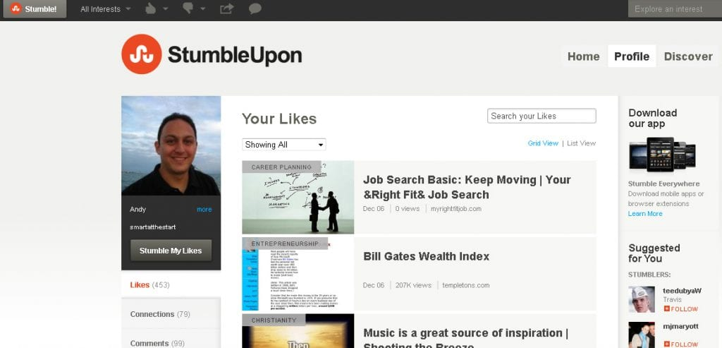Stumbleupon Traffic Profile
