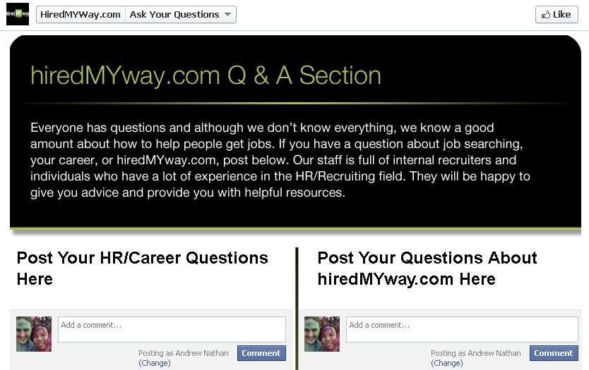 hiredmyway facebook campaign landing