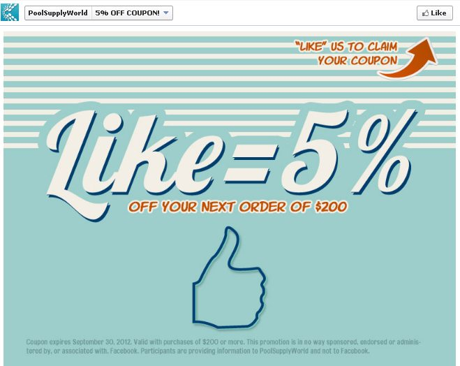 pool supply world facebook campaign landing