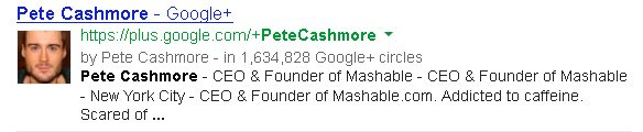 Peter Cashmore Google Plus Snippet