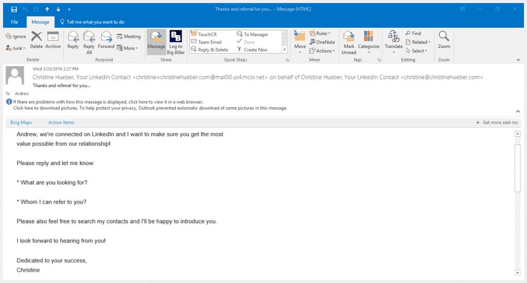 Christine Hueber Email Screenshot