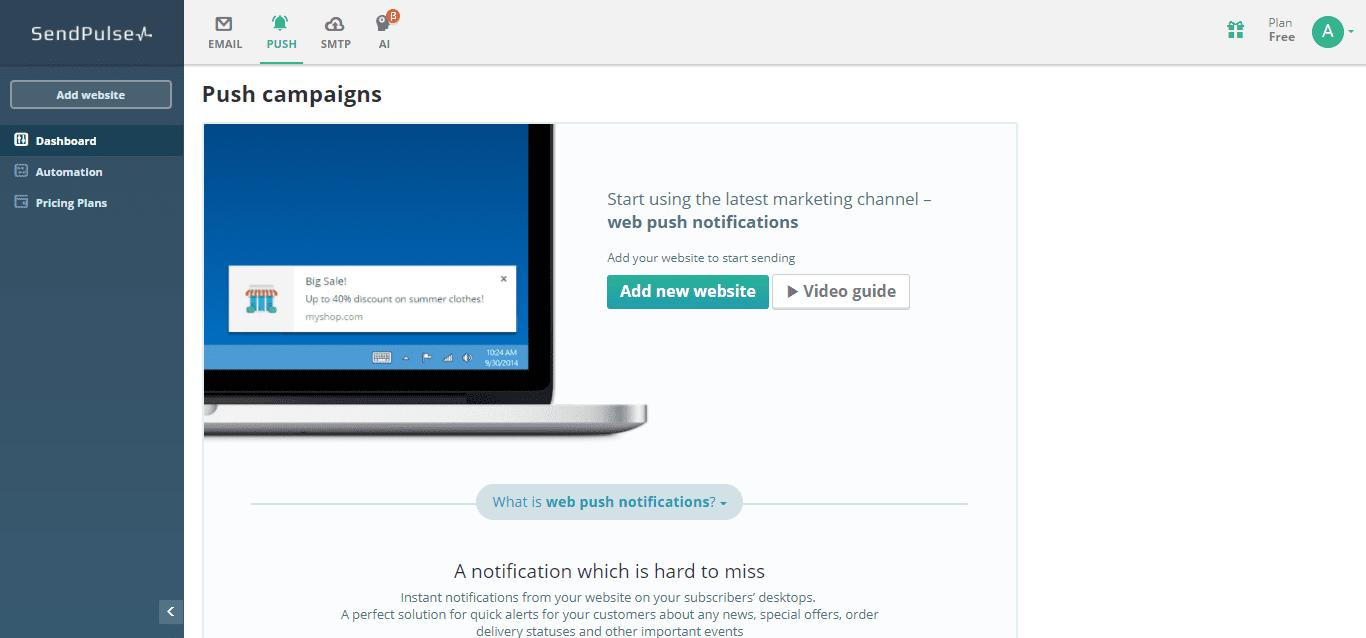 SendPulse webpush