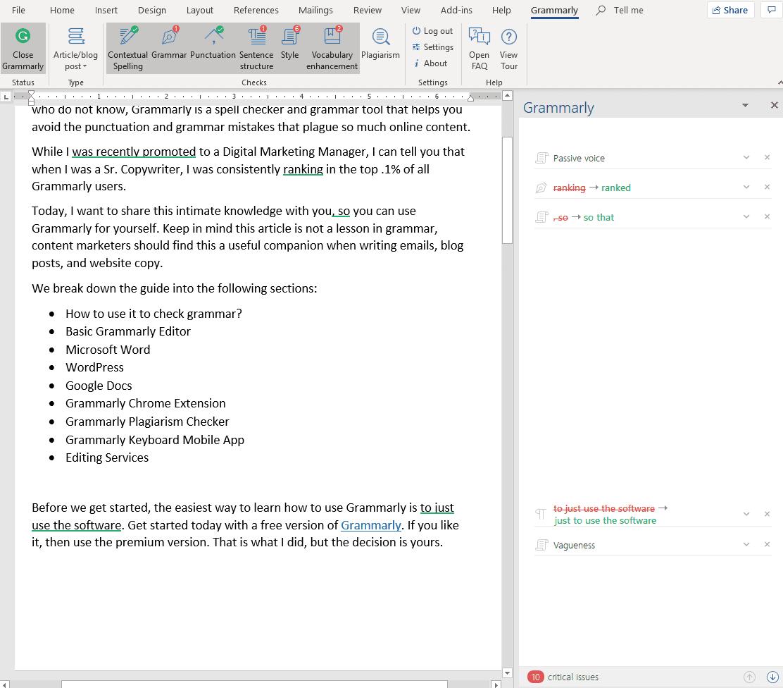 Grammarly Microsoft Word